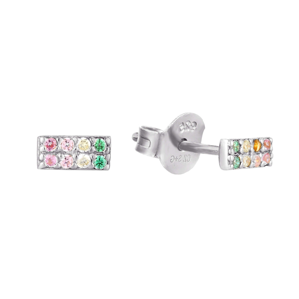 Rainbow CZ Stud Earrings - seol-gold