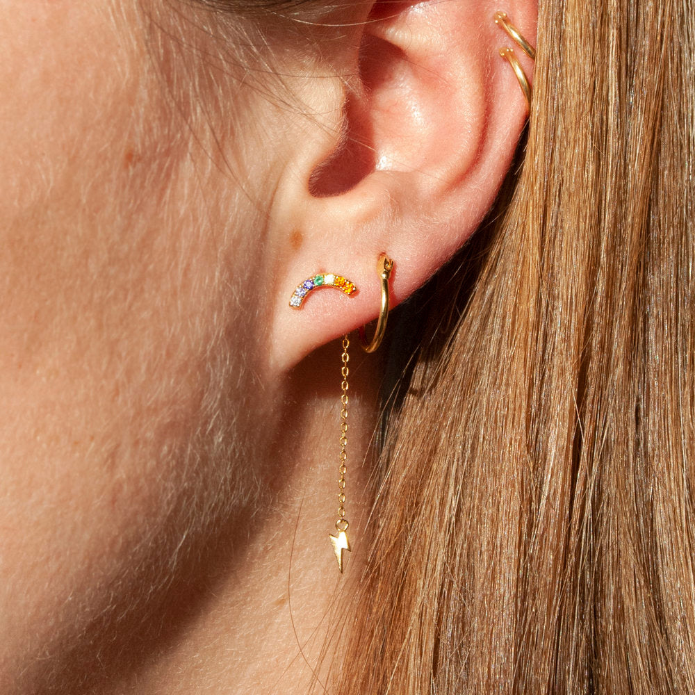Rainbow CZ Lightning Bolt Chain Stud Earrings - seol-gold