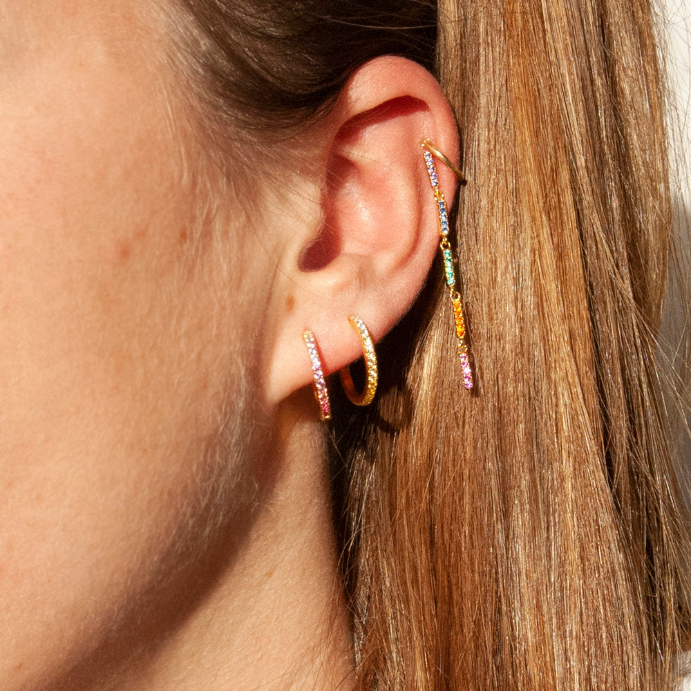 CZ Drop Stud Earrings - seol-gold
