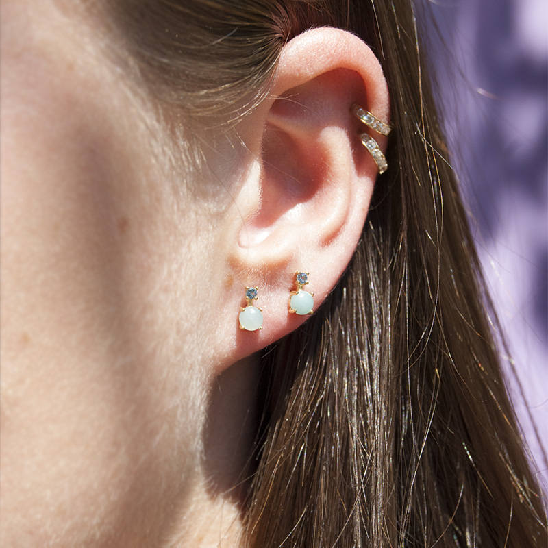 CZ and Moonstone Studs - seol-gold