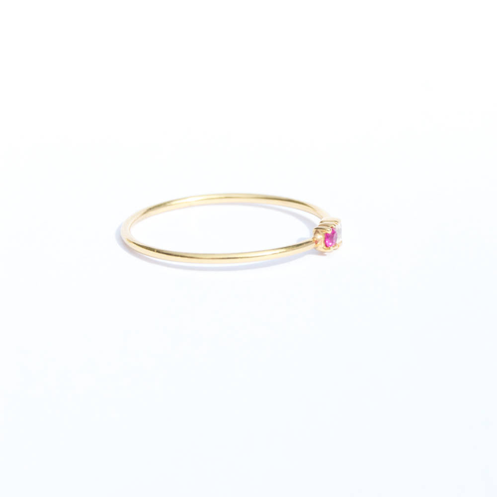 Baguette and Ruby CZ Ring - seol-gold