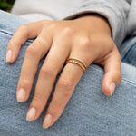 Turquoise Studded Band Ring - seol-gold