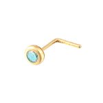 9ct Gold Aquamarine CZ Bezel Nose Stud