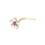 9ct Gold Pink Crystal Flower Nose Stud