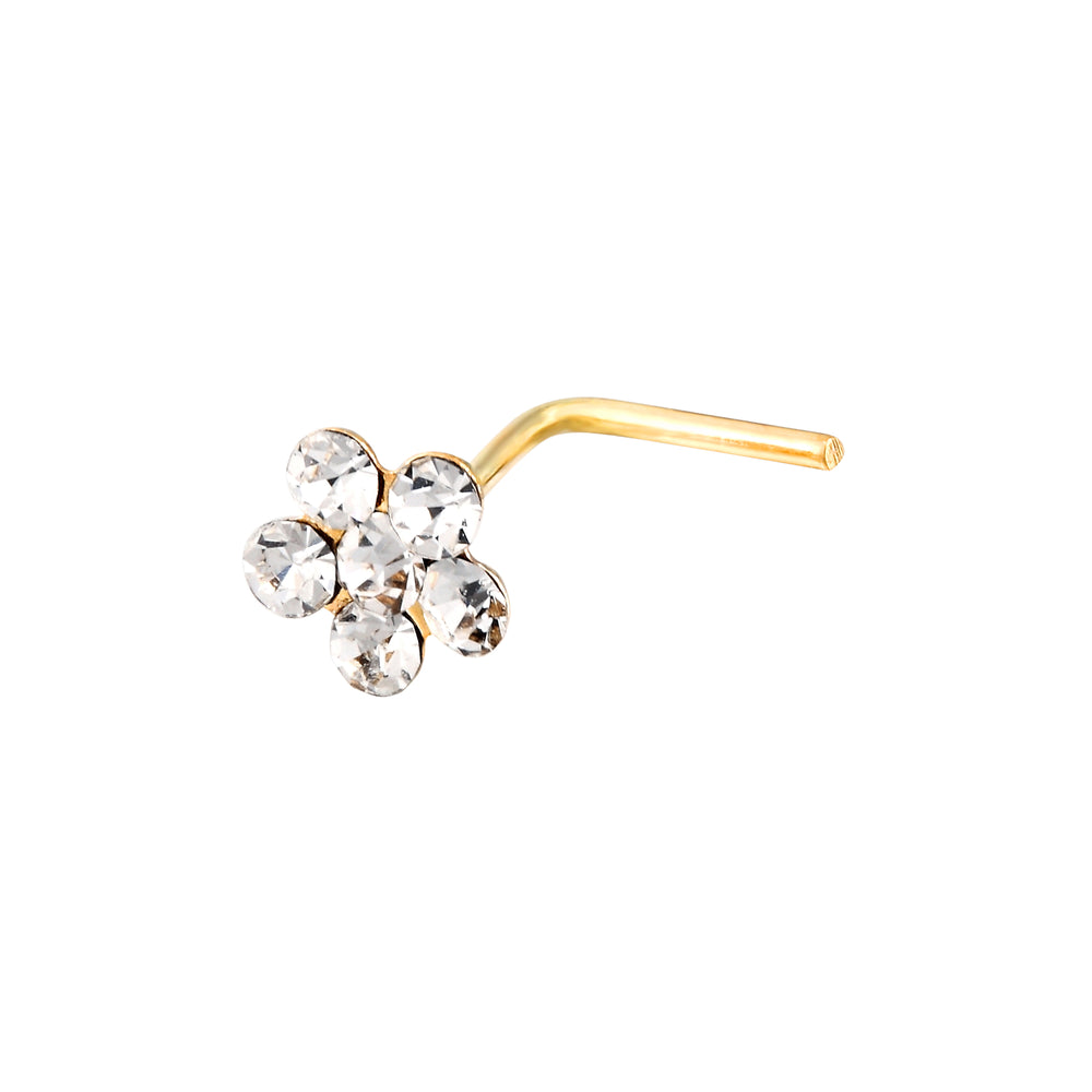 9ct Gold Crystal Flower Nose Stud
