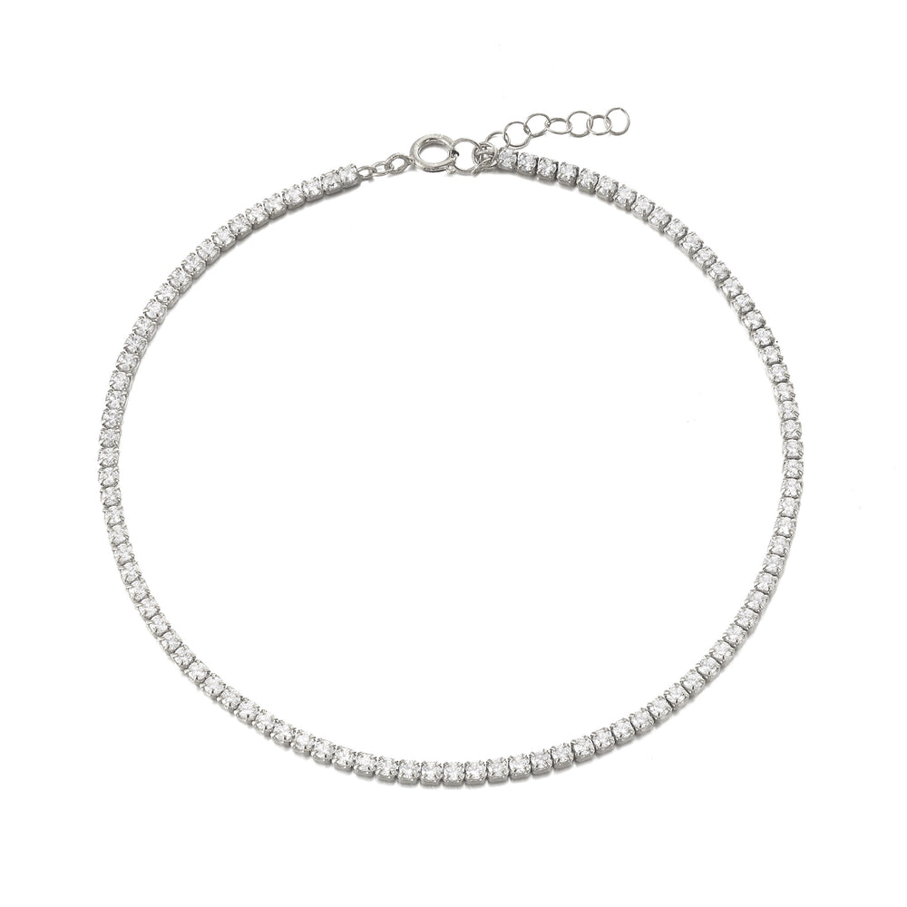 silver cz anklet - seolgold
