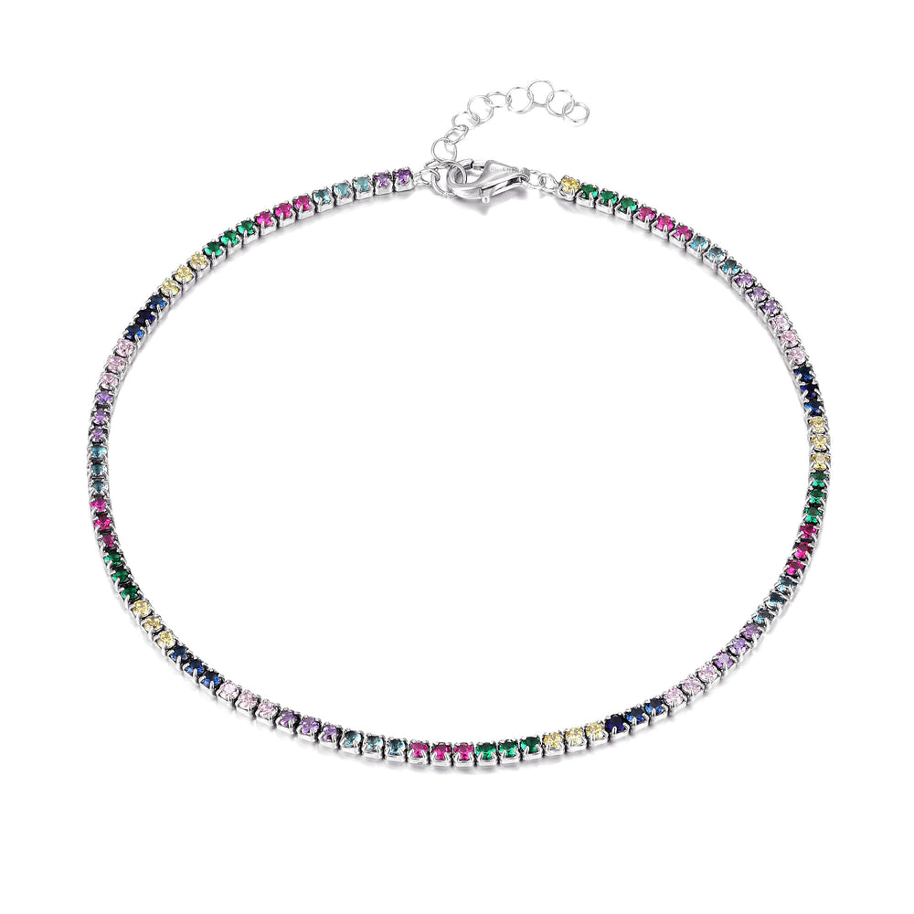 silver rainbow tennis anklet - seolgold