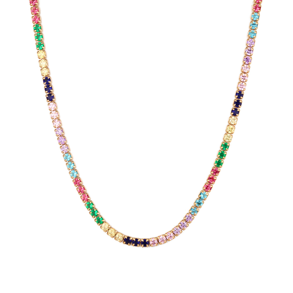 Rainbow tennis necklace - seol-gold