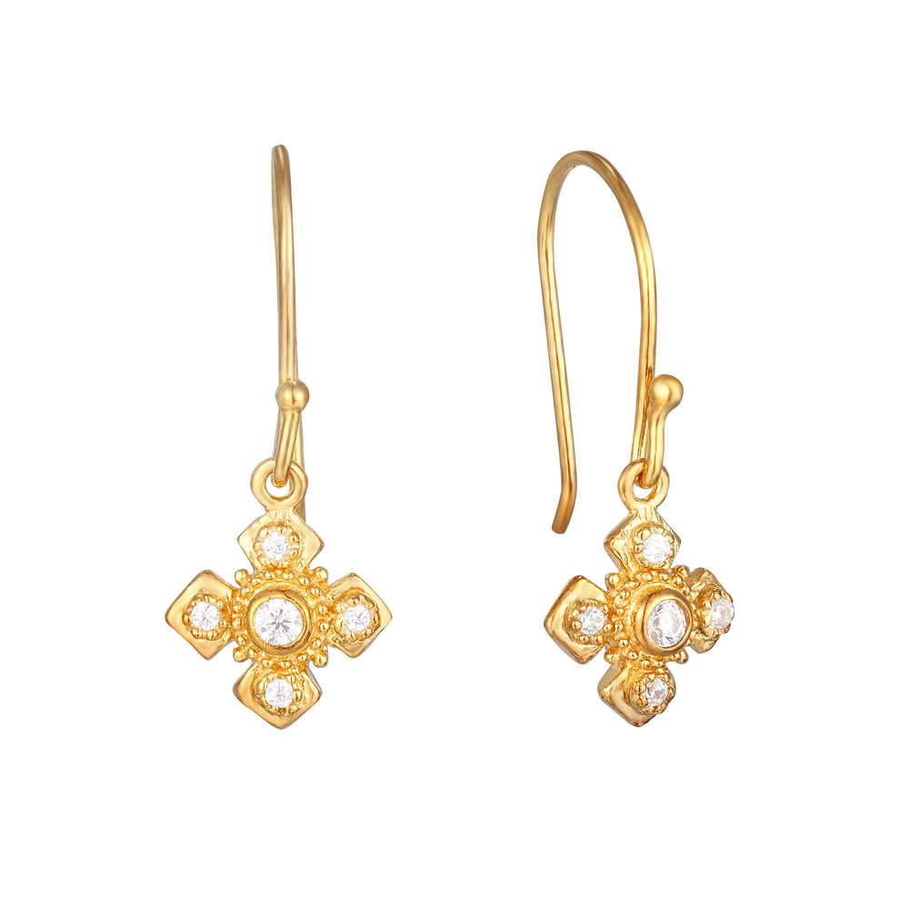 CZ Cross Charm Drop Earrings