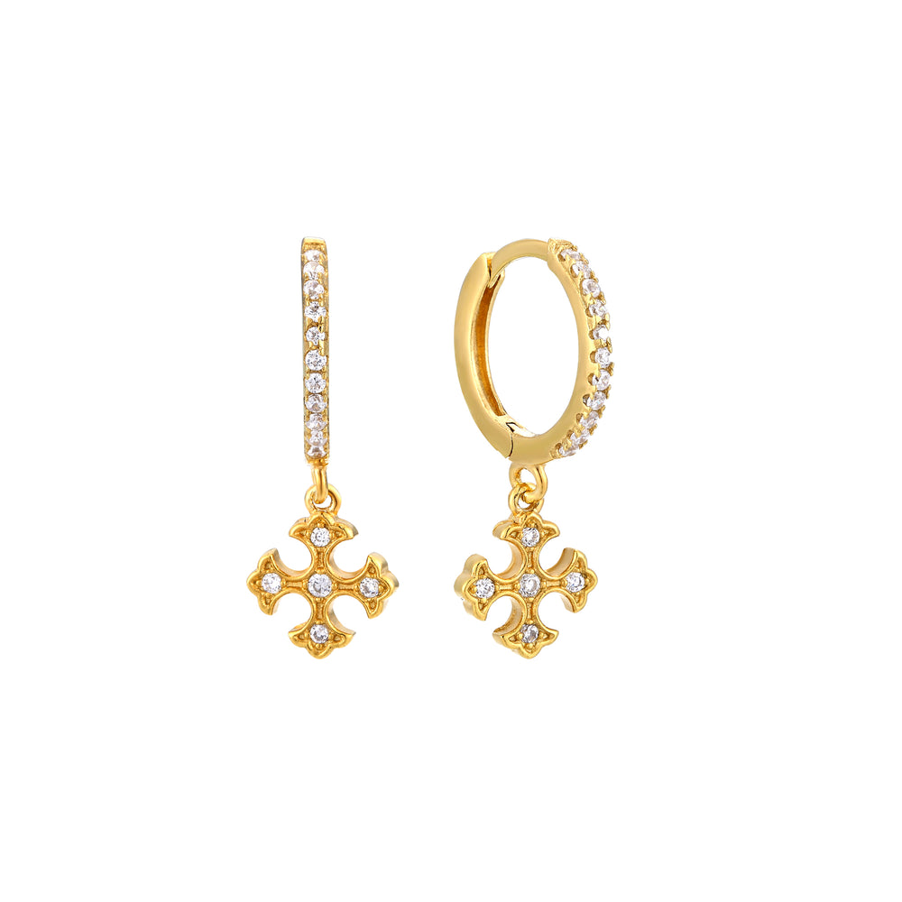 Cross Charm CZ Hoop Earrings - seol-gold