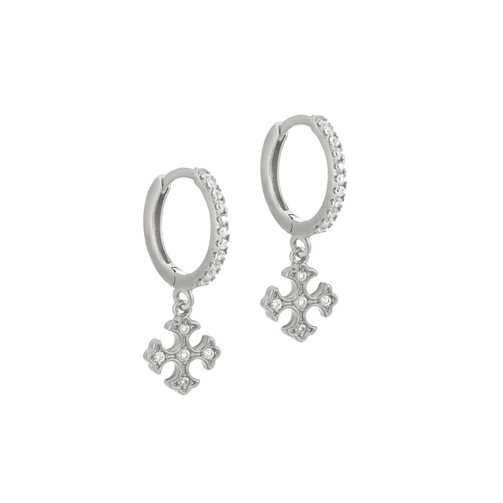Cross Charm CZ Hoop Earrings