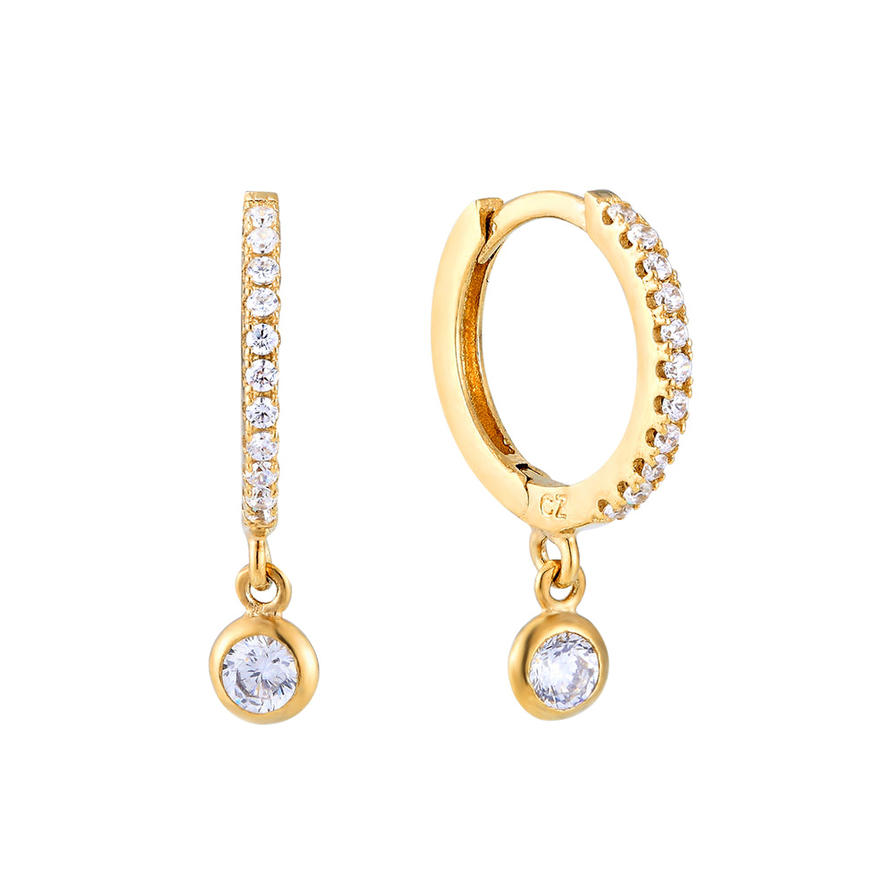 Cz Bezel Charm Hoop Earrings - seol-gold