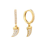 Cz Claw Charm Hoop Earrings - seol-gold