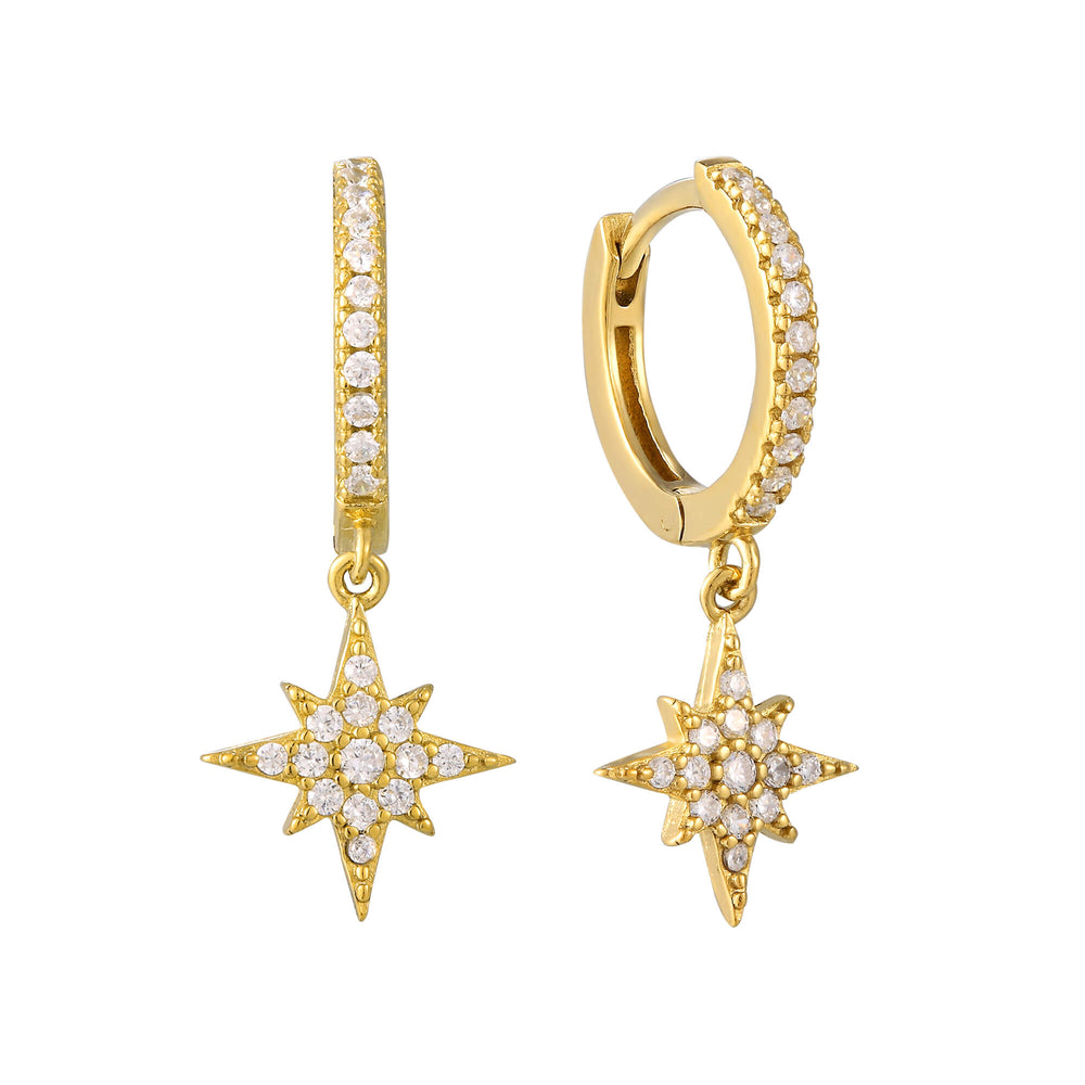 North Star CZ Charm Hoop Earrings