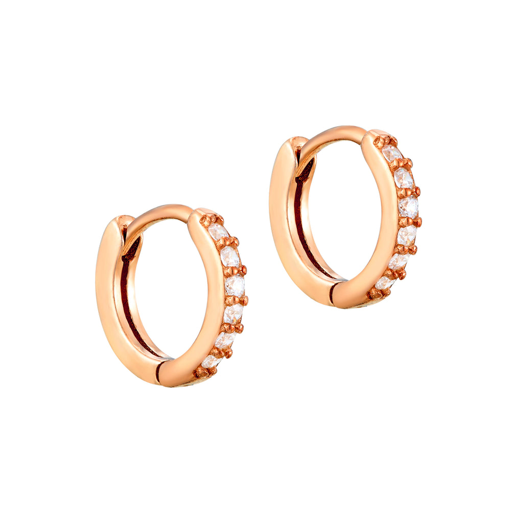 White or Black CZ Hoop Earrings