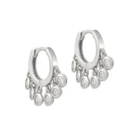 CZ Drop Charm Hoop Earrings