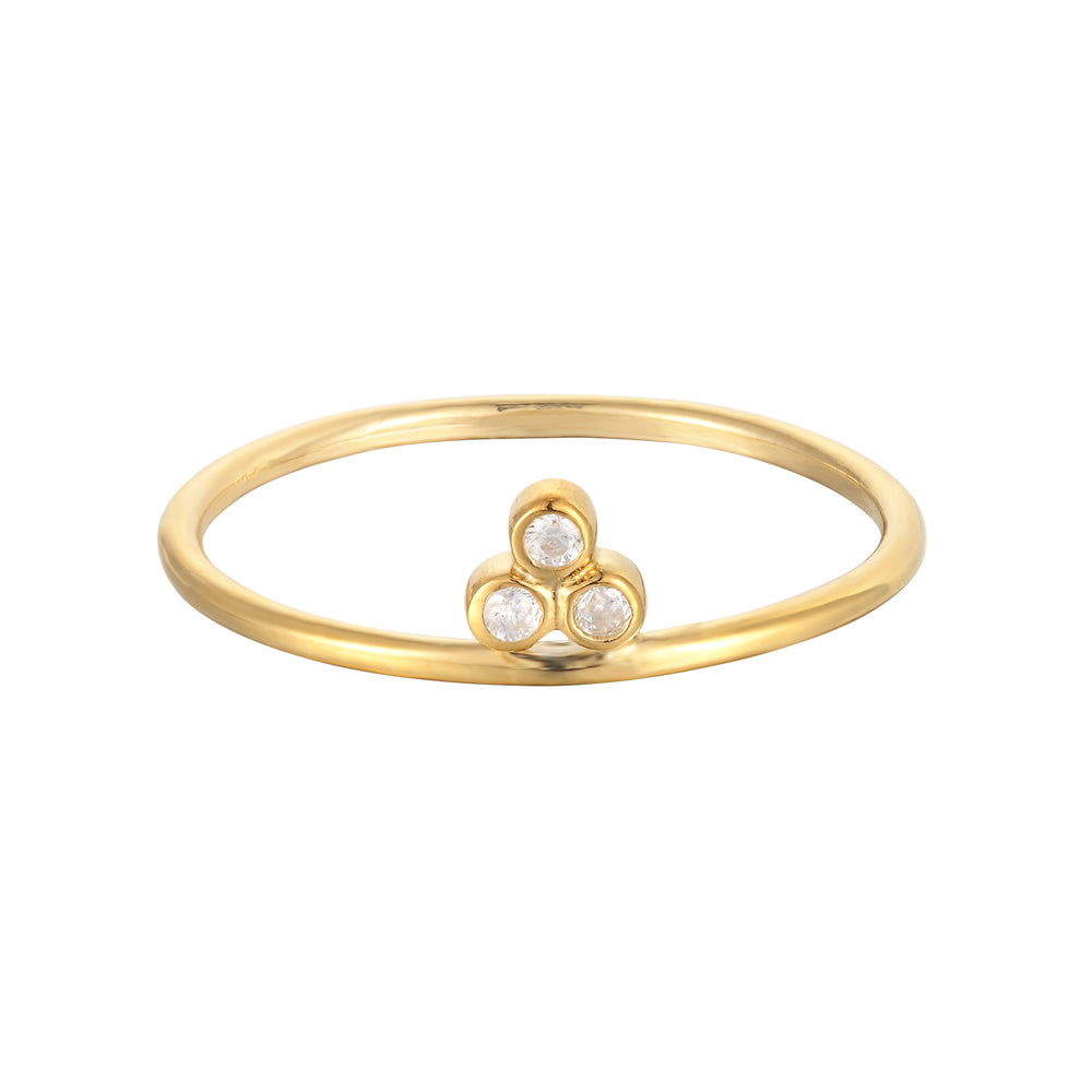 Triple CZ Bezel Ring - seol-gold