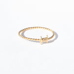 Gold Barbed Wire Twisted Band Ring - seol-gold