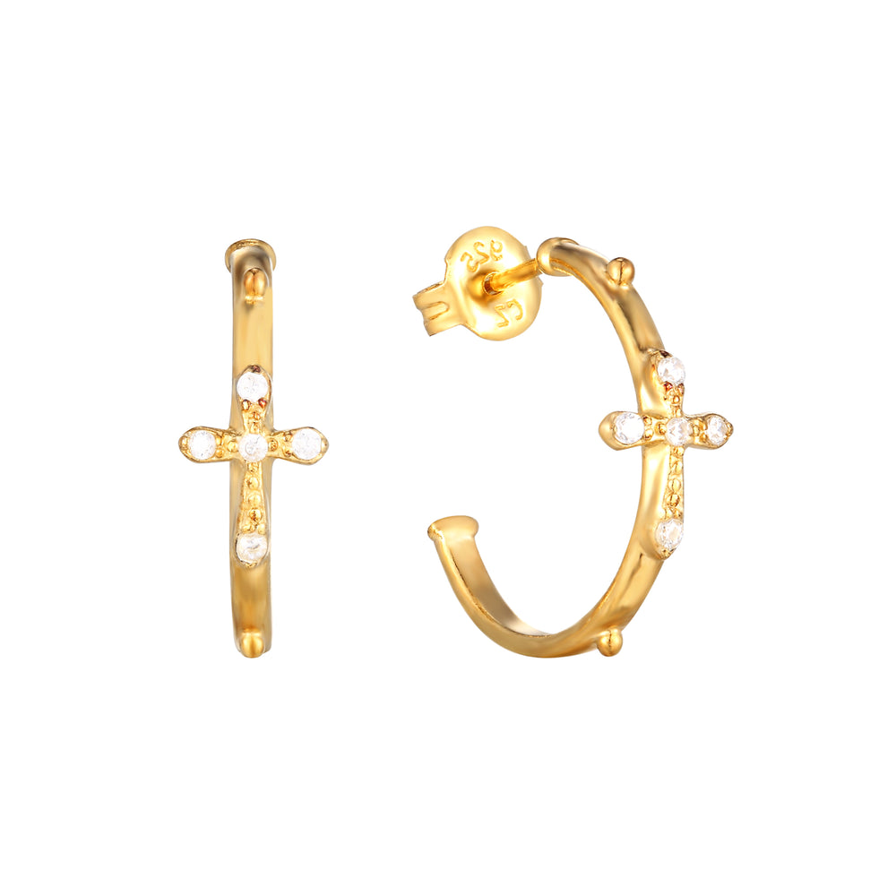 gold cross hoops - seolgold