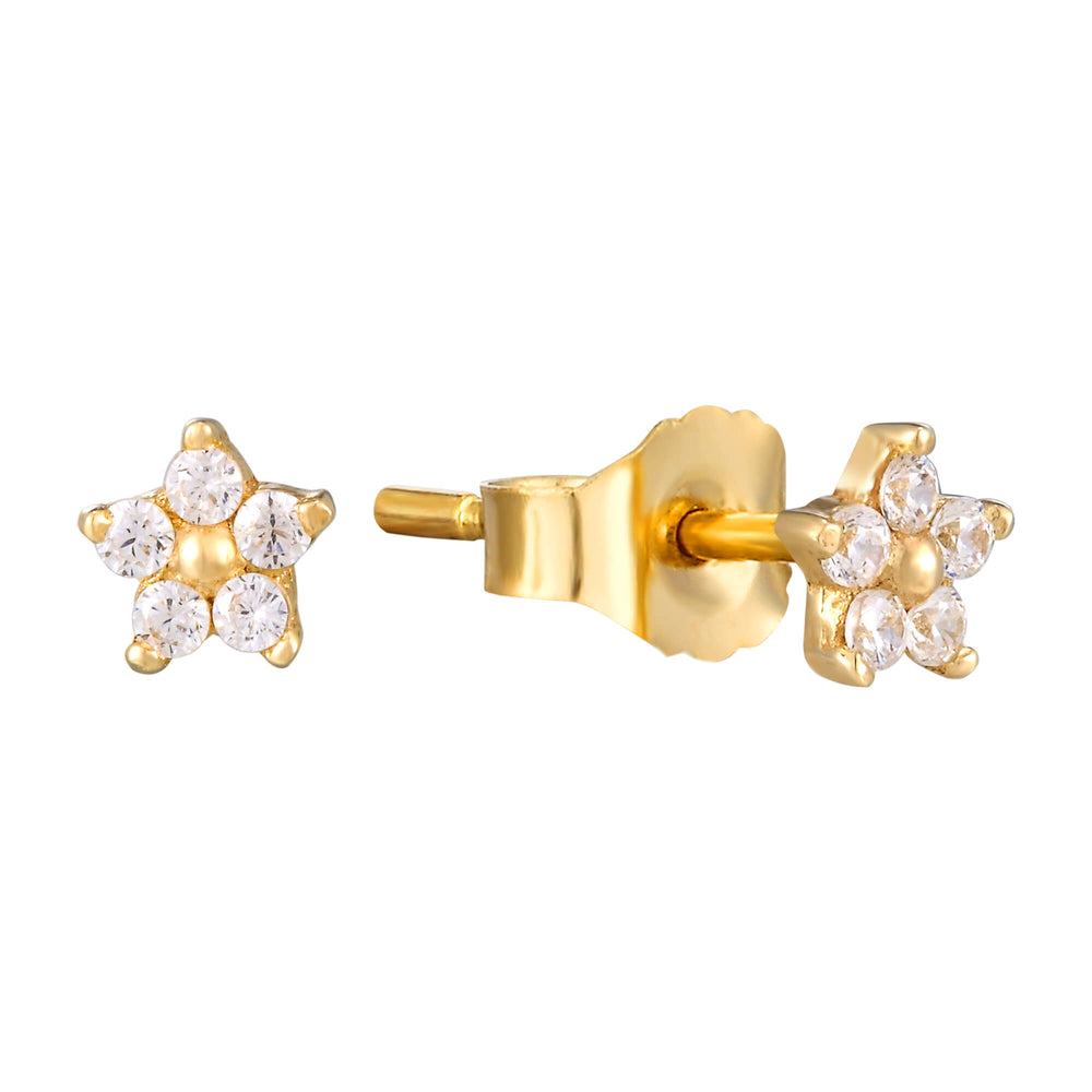 flower stud earrings - seol-gold