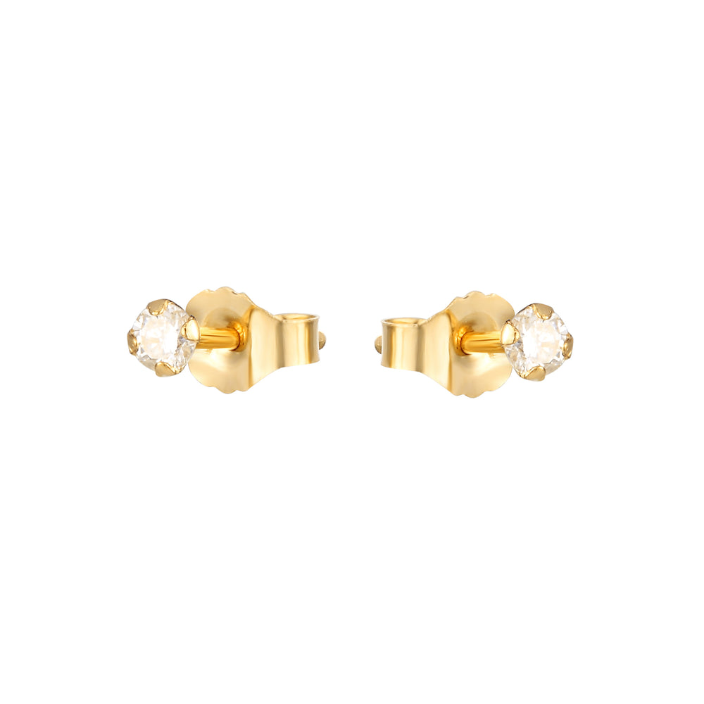 tiny diamond studs - seolgold