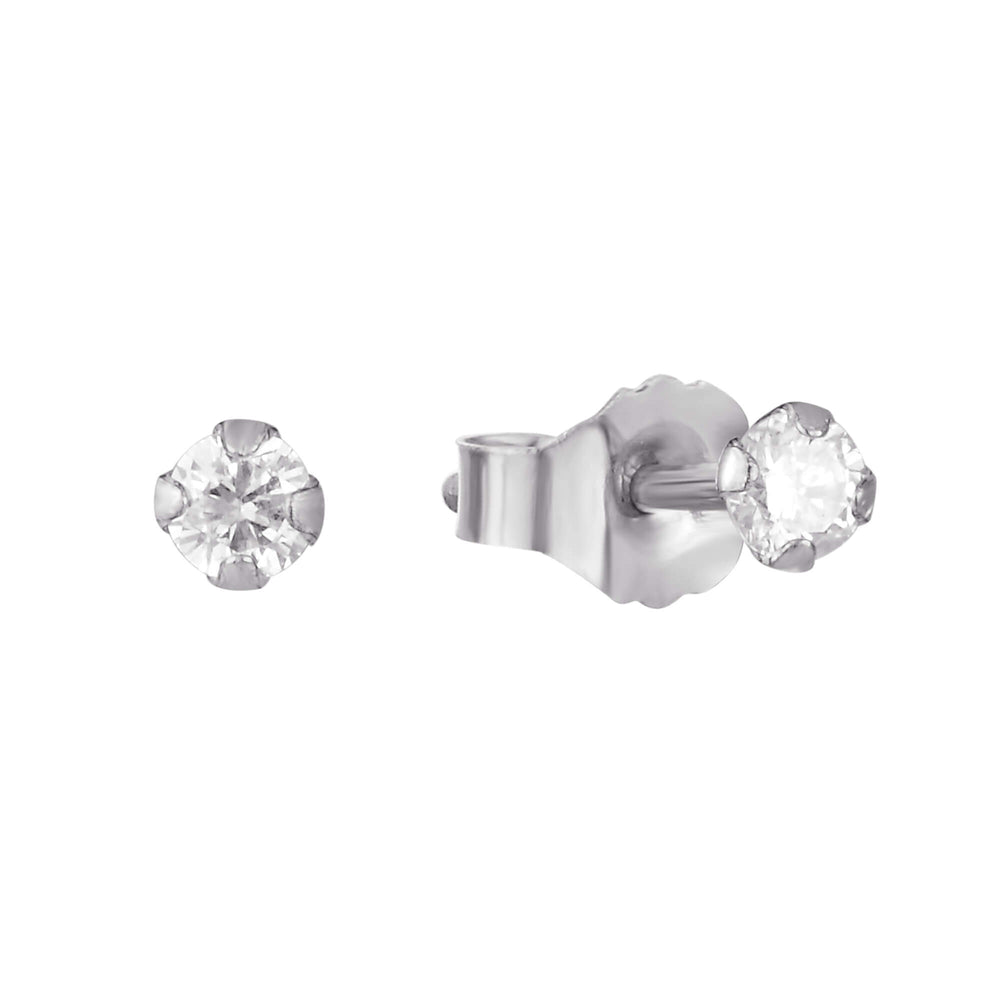 9ct white Gold Diamond Stud Earrings - seol-gold