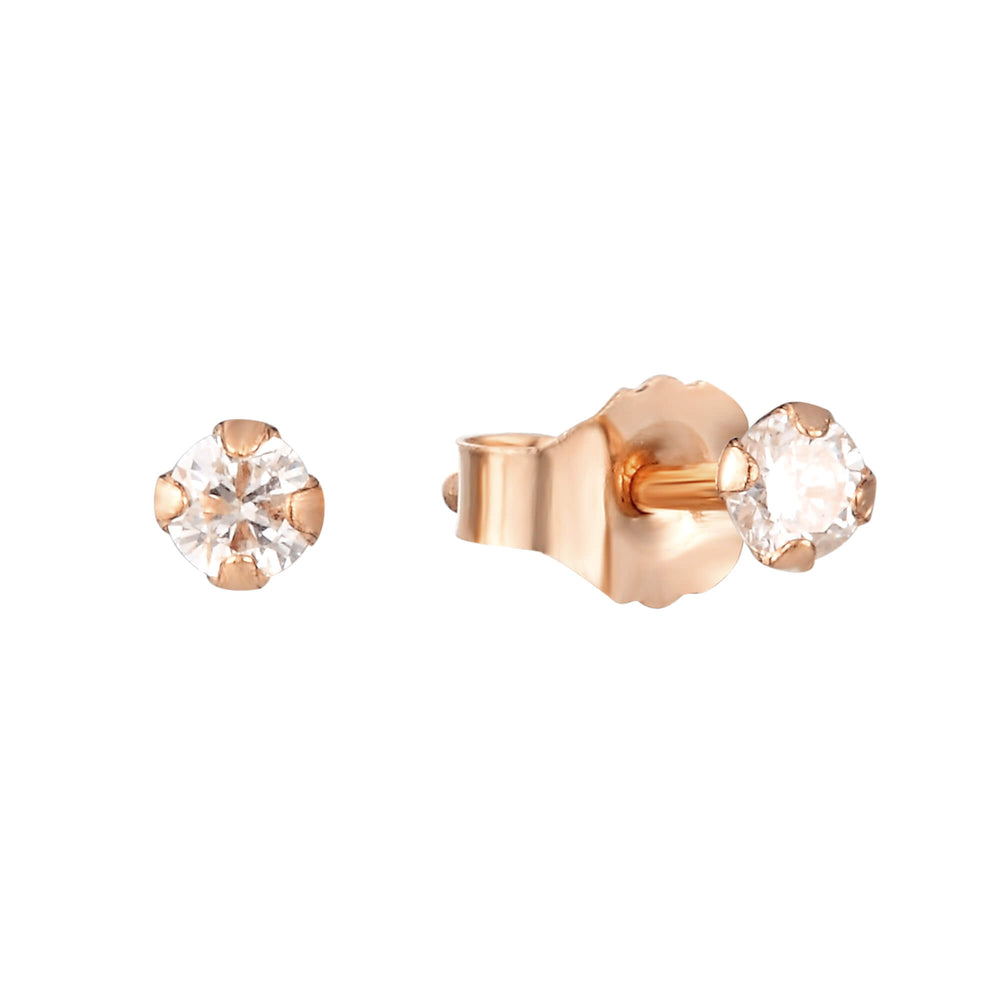 9ct rose Gold Diamond Stud Earrings - seol-gold