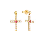 9ct Gold Ruby Cross Earrings