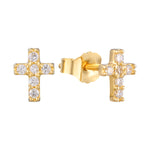 cross studs - seol gold