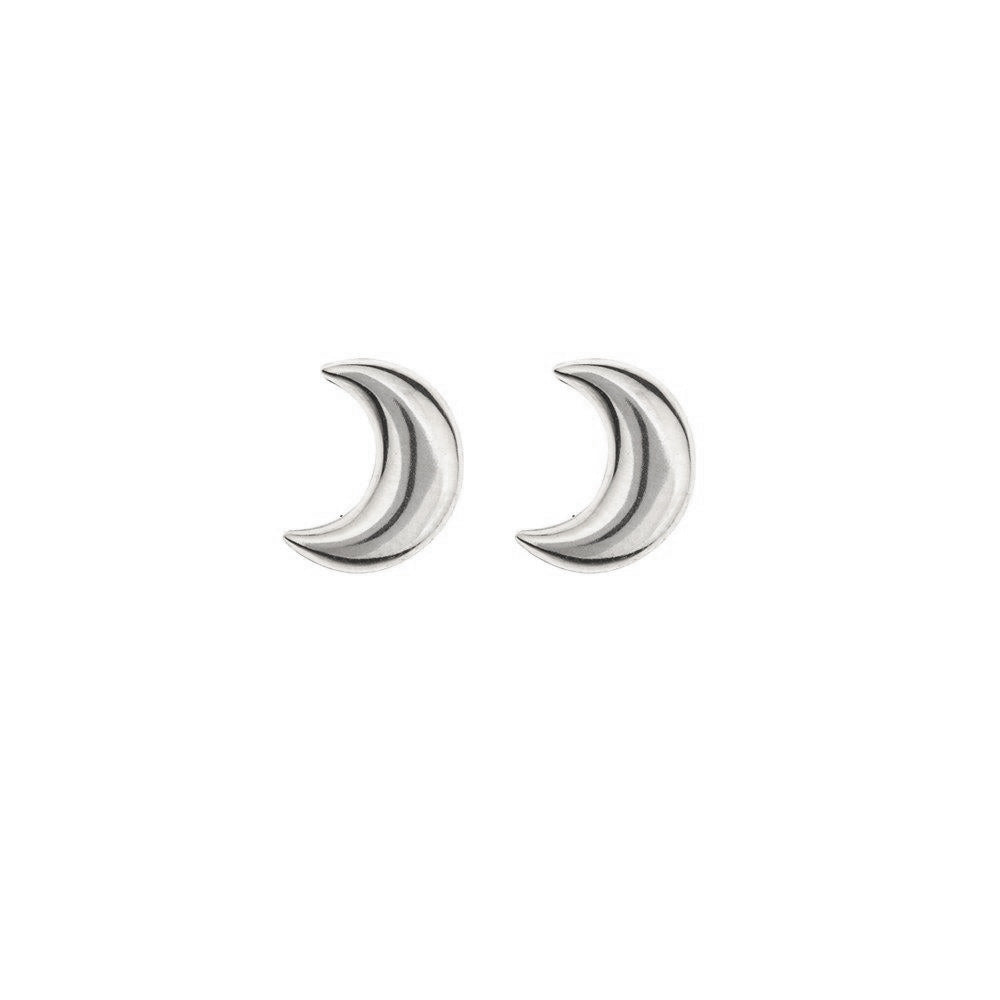 silver moon studs - seolgold