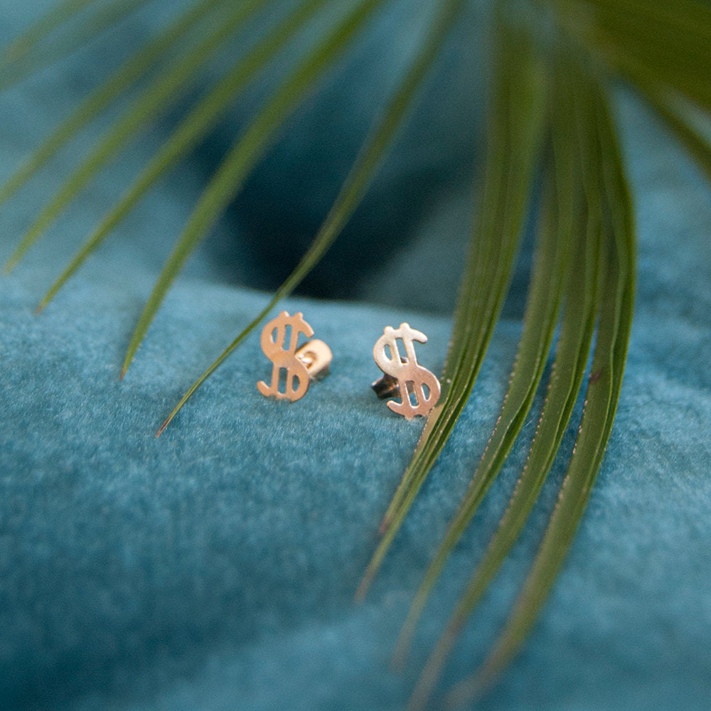 9ct Gold Dollar Studs - seol-gold