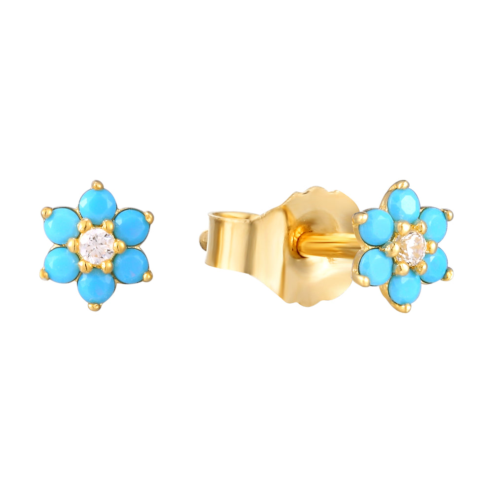 turquoise studs - seol gold