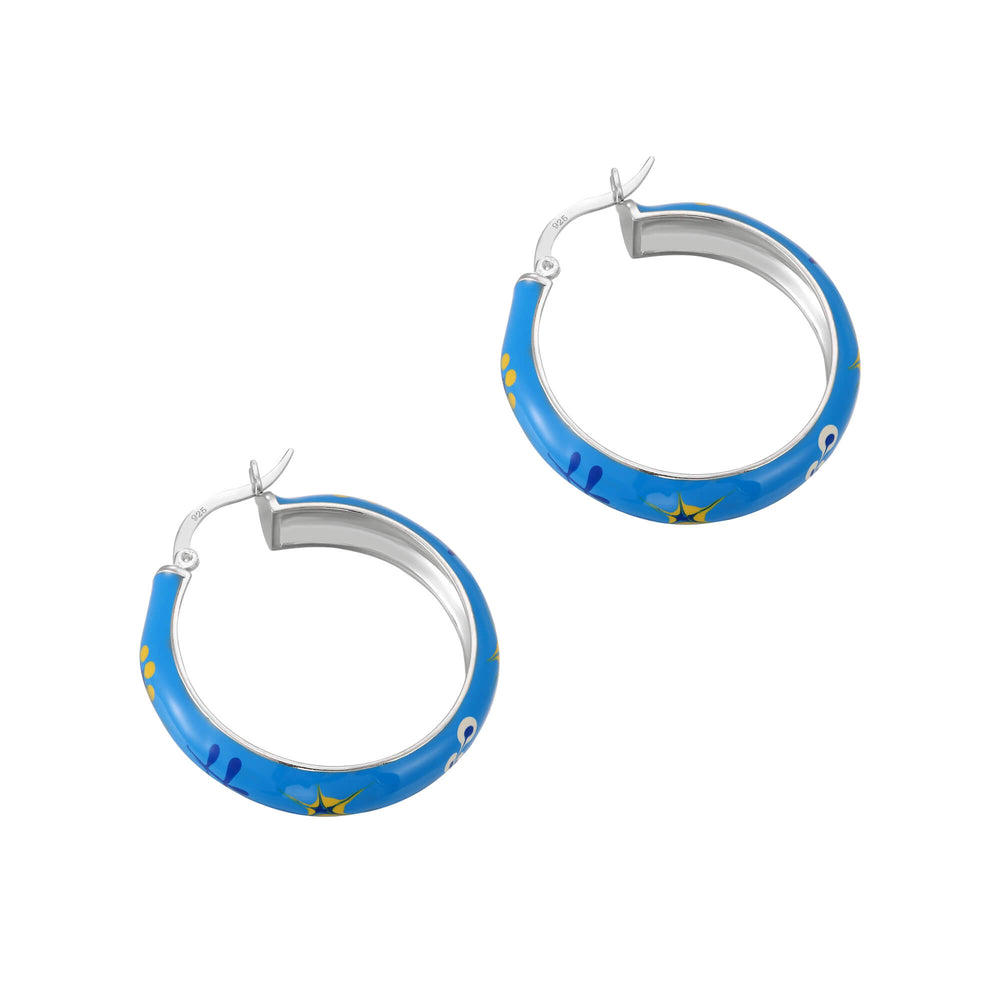 blue enamel flower hoops - seolgold