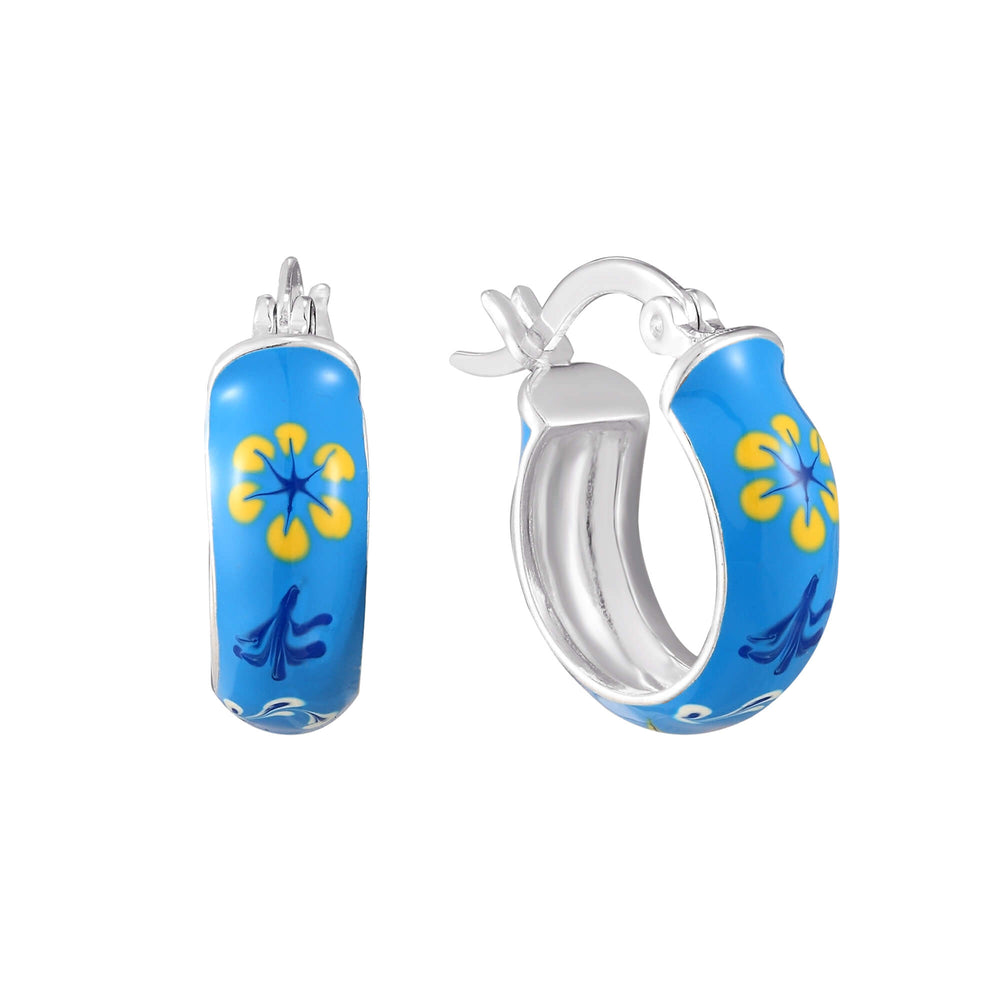 Blue Flower Enamel Tiny Hoops