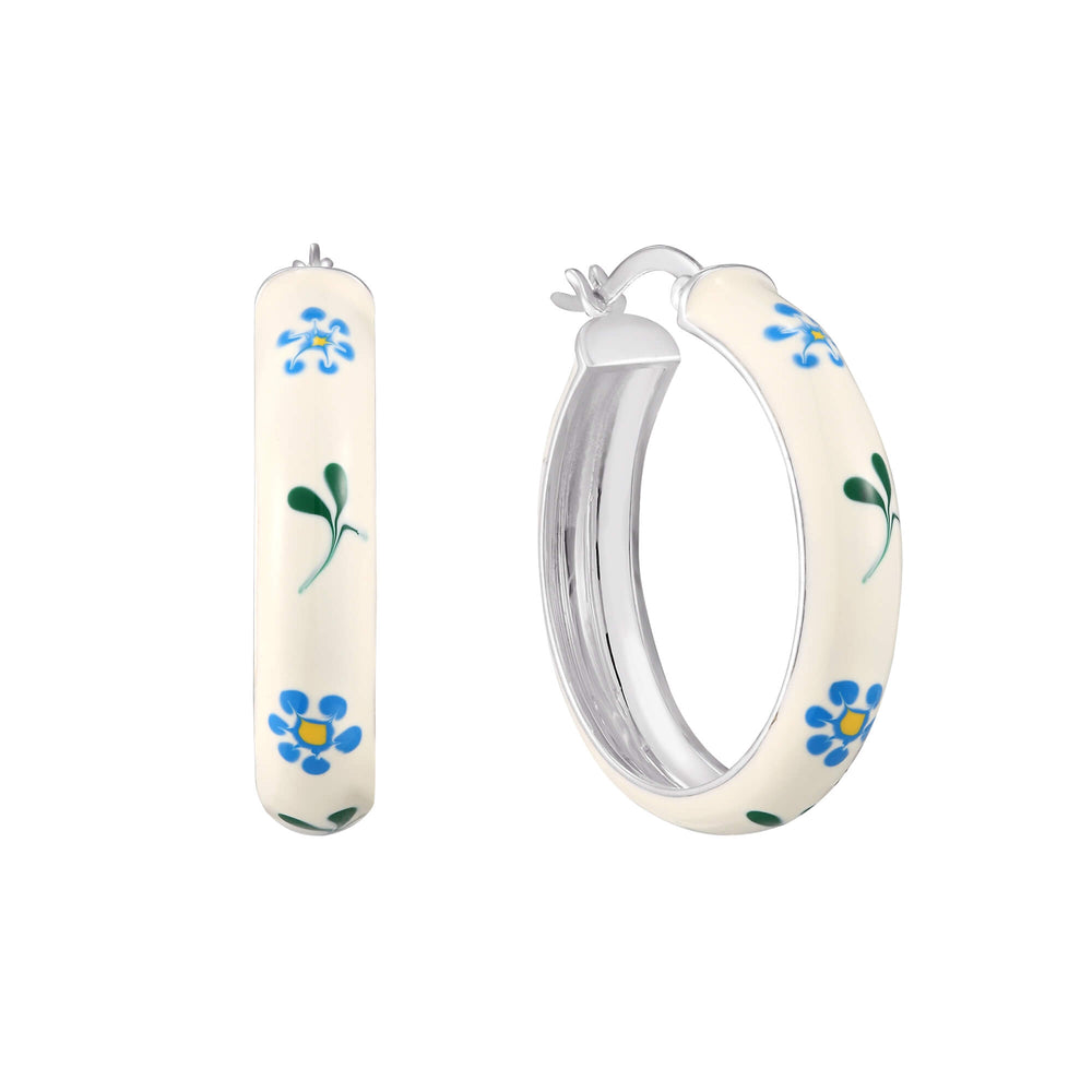 White and Blue Flower Enamel Large Hoops