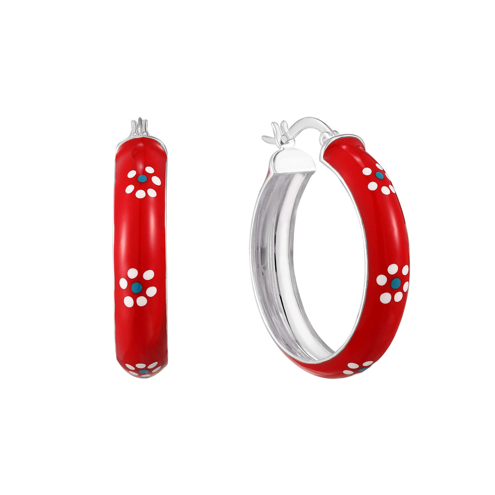Red with White Flower Enamel Large Hoops