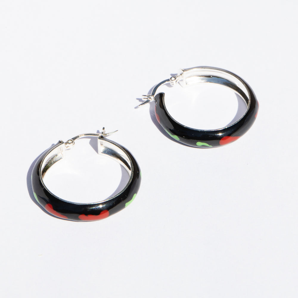 red enamel hoops - seolgold