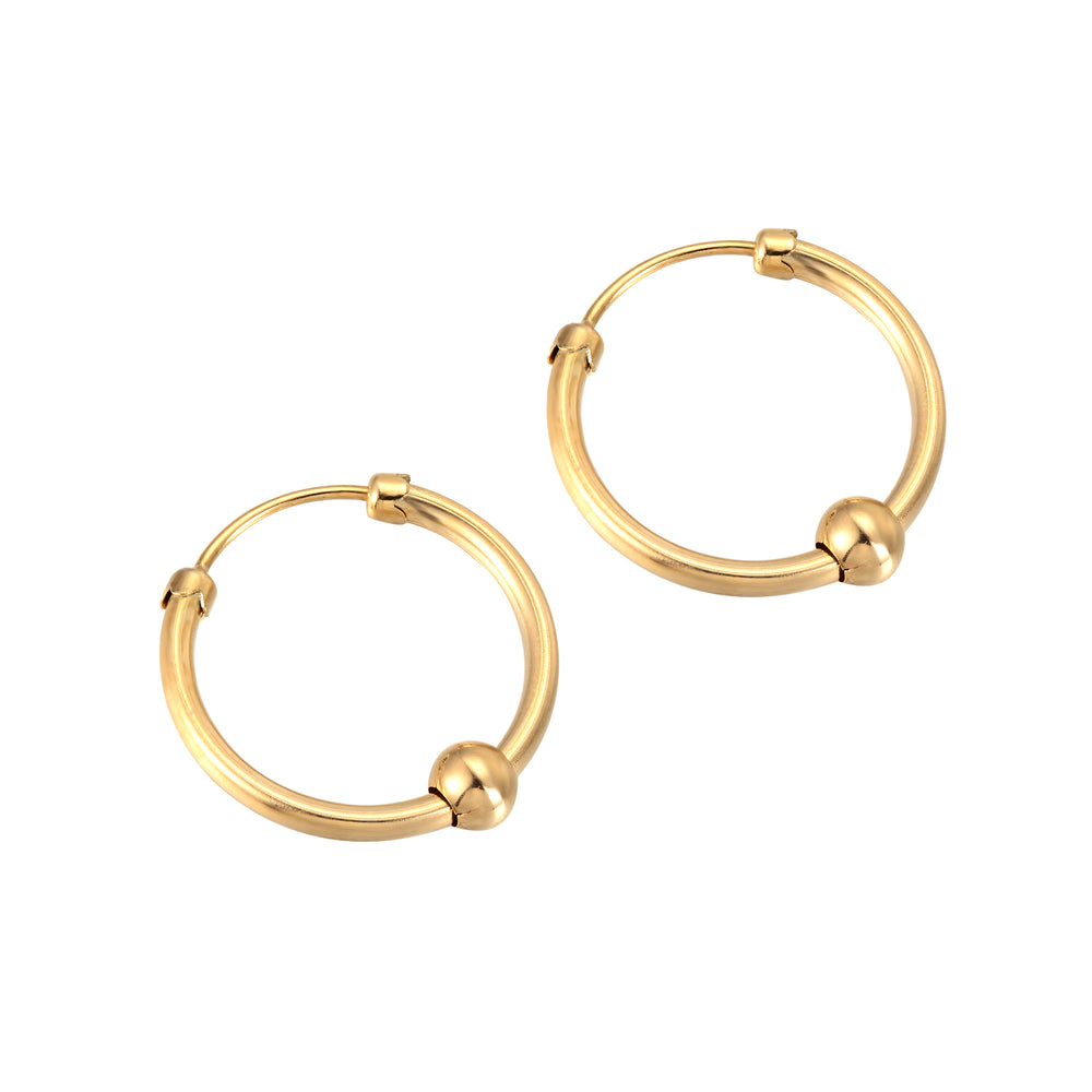9ct gold bead hoops - seolgold