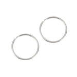 9ct White Gold Thin Hoops