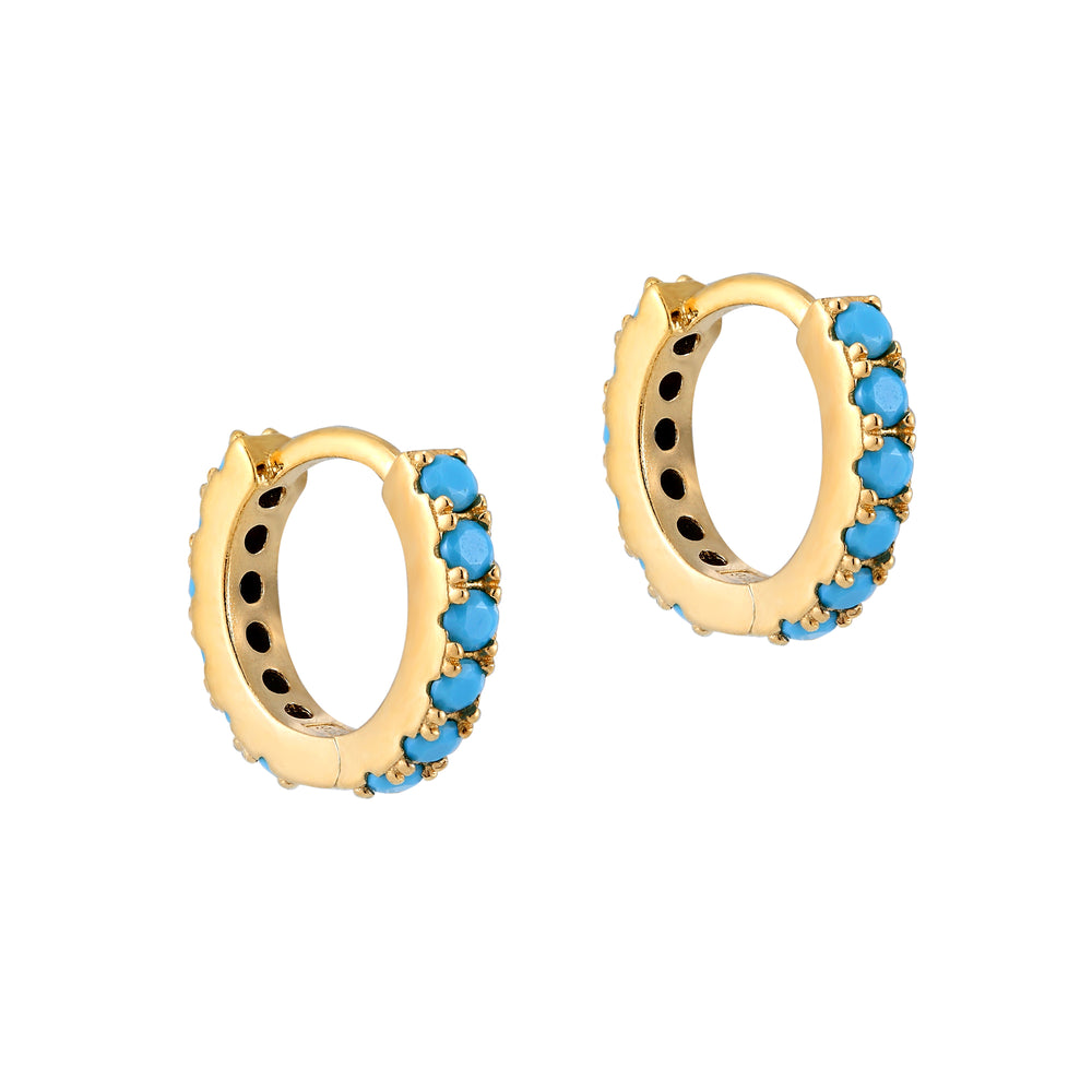Turquoise - tiny gold Hoops - seol-gold