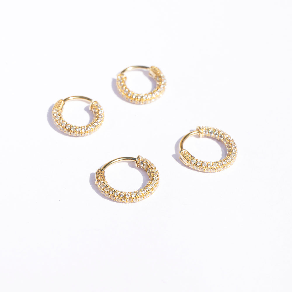 Pave CZ huggie hoops - seol-gold