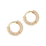 opal gold hoops earrings - seolgold