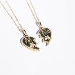 Best Friend split heart necklace - seol gold