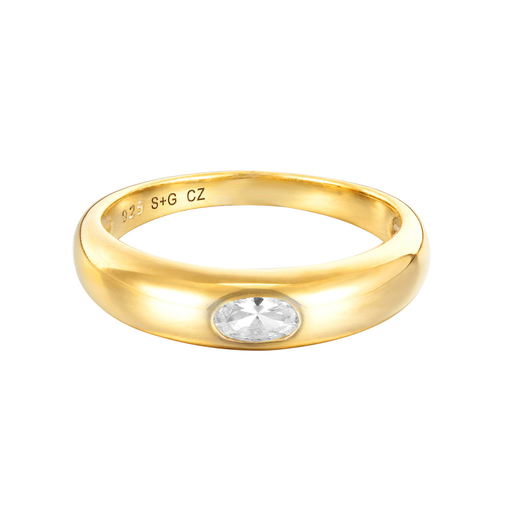 Oval CZ Domed Ring