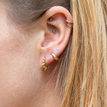 Triple spike huggie hoops - seol-gold