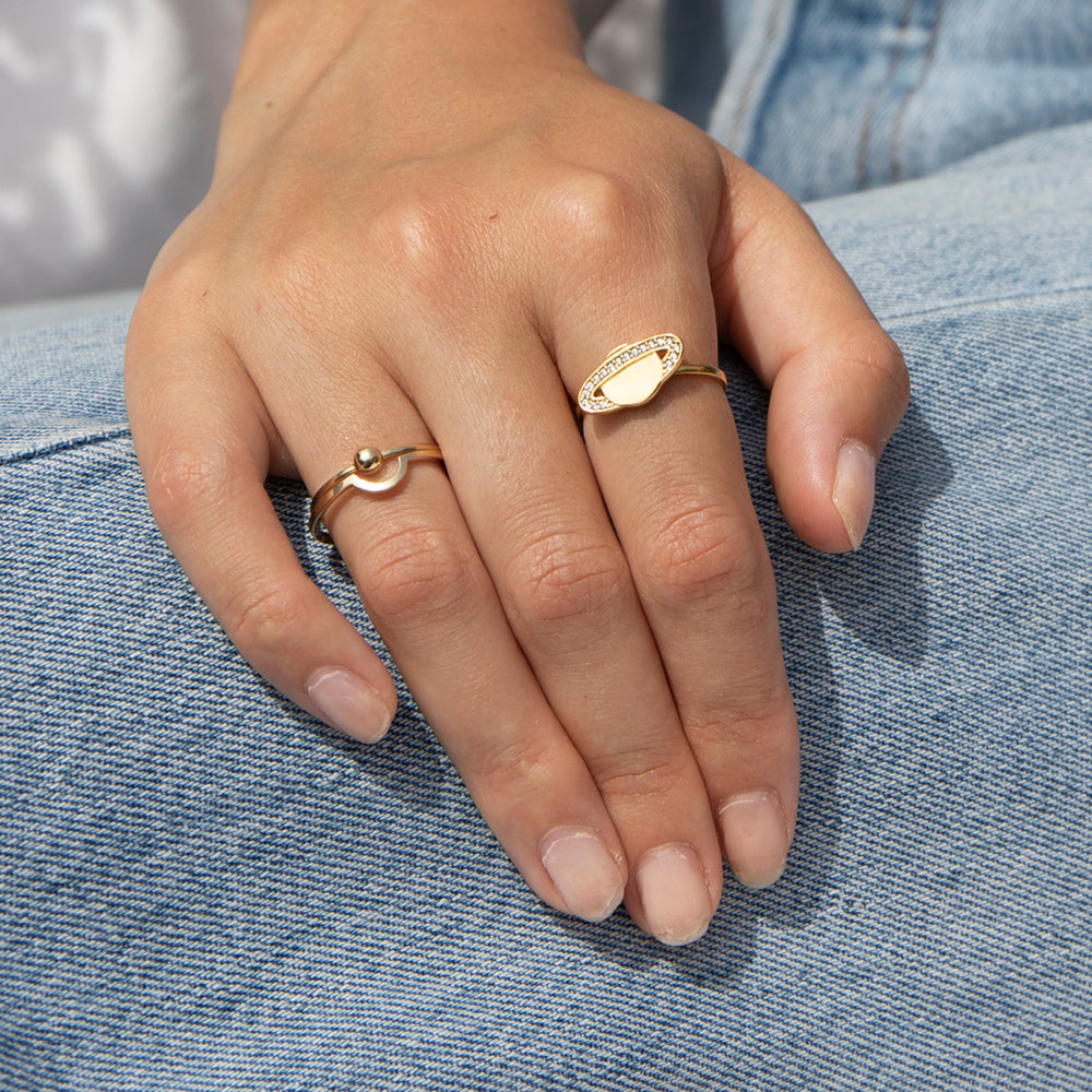 Saturn Planet CZ Studded Ring - seol-gold