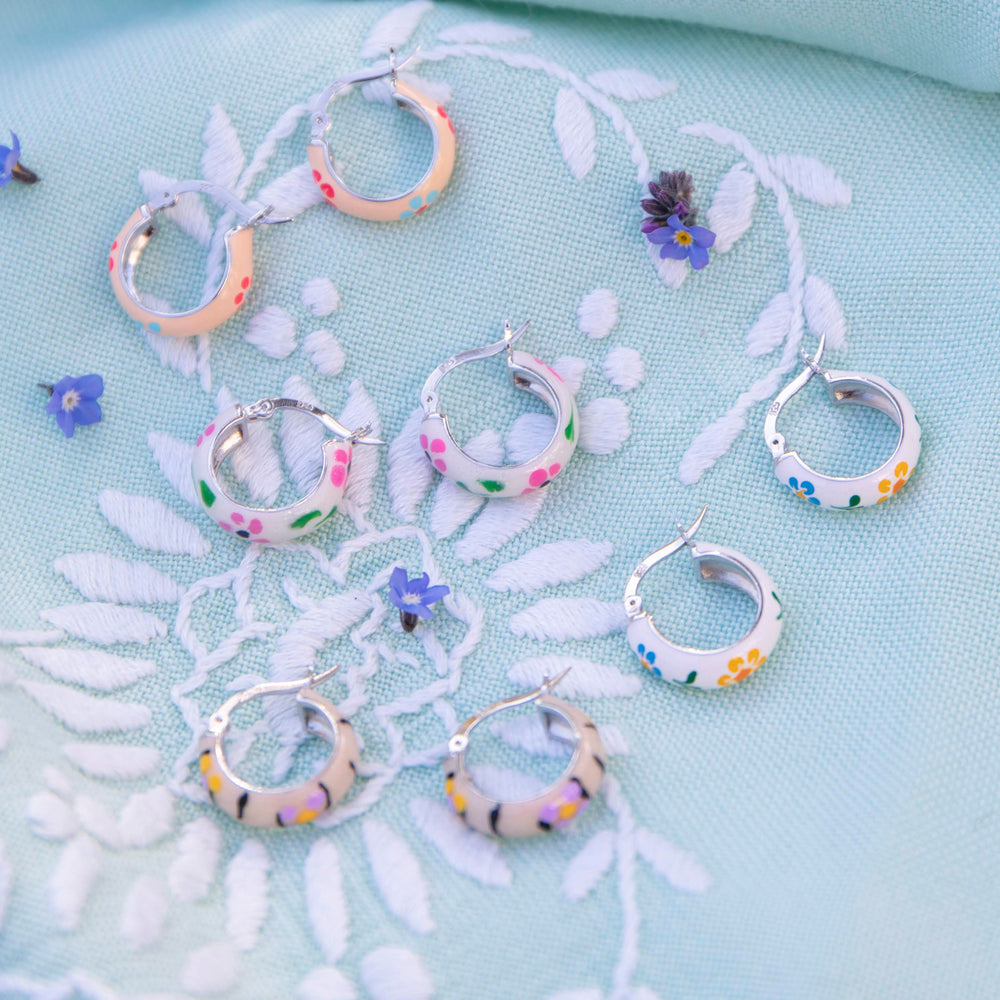 blue flower hoops - seolgold