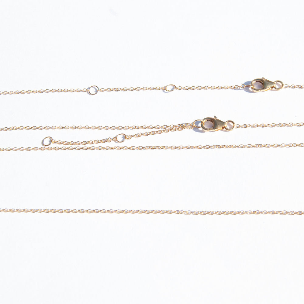 "Super Fine  16"" - 20"" Adjustable Plain Chain - seol-gold"