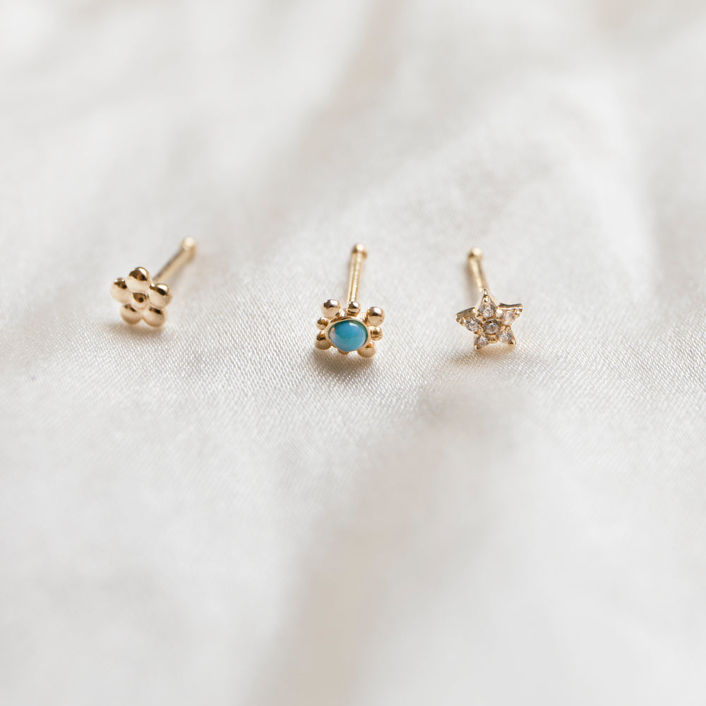 9ct gold turquoise nose stud - seol gold