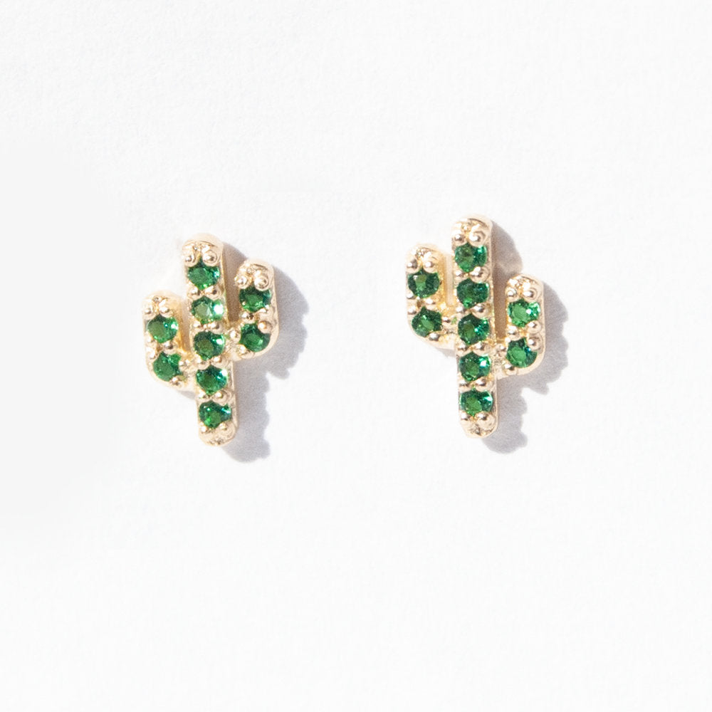 9ct Gold Emerald CZ Baby Cactus Studs - seol-gold